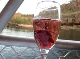 sparkling wine with rosella flower, Nitmiluk dinner cruise