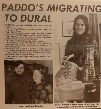 newspaper clipping about the gallery