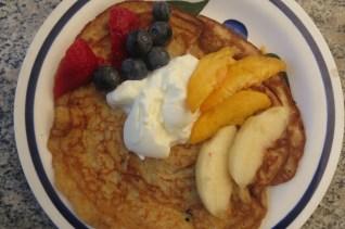 sourdough pancake with berries, peach and nectarine