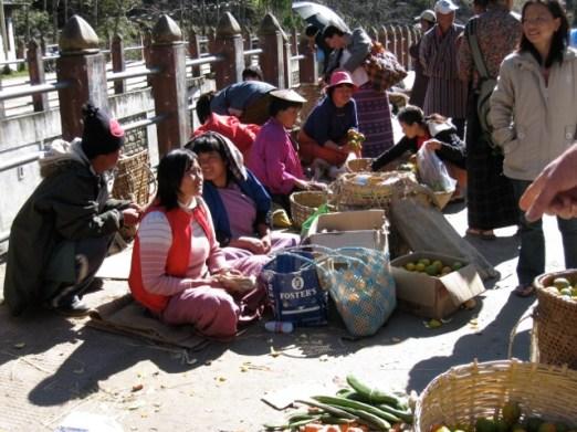 Bhutanese market on bridge