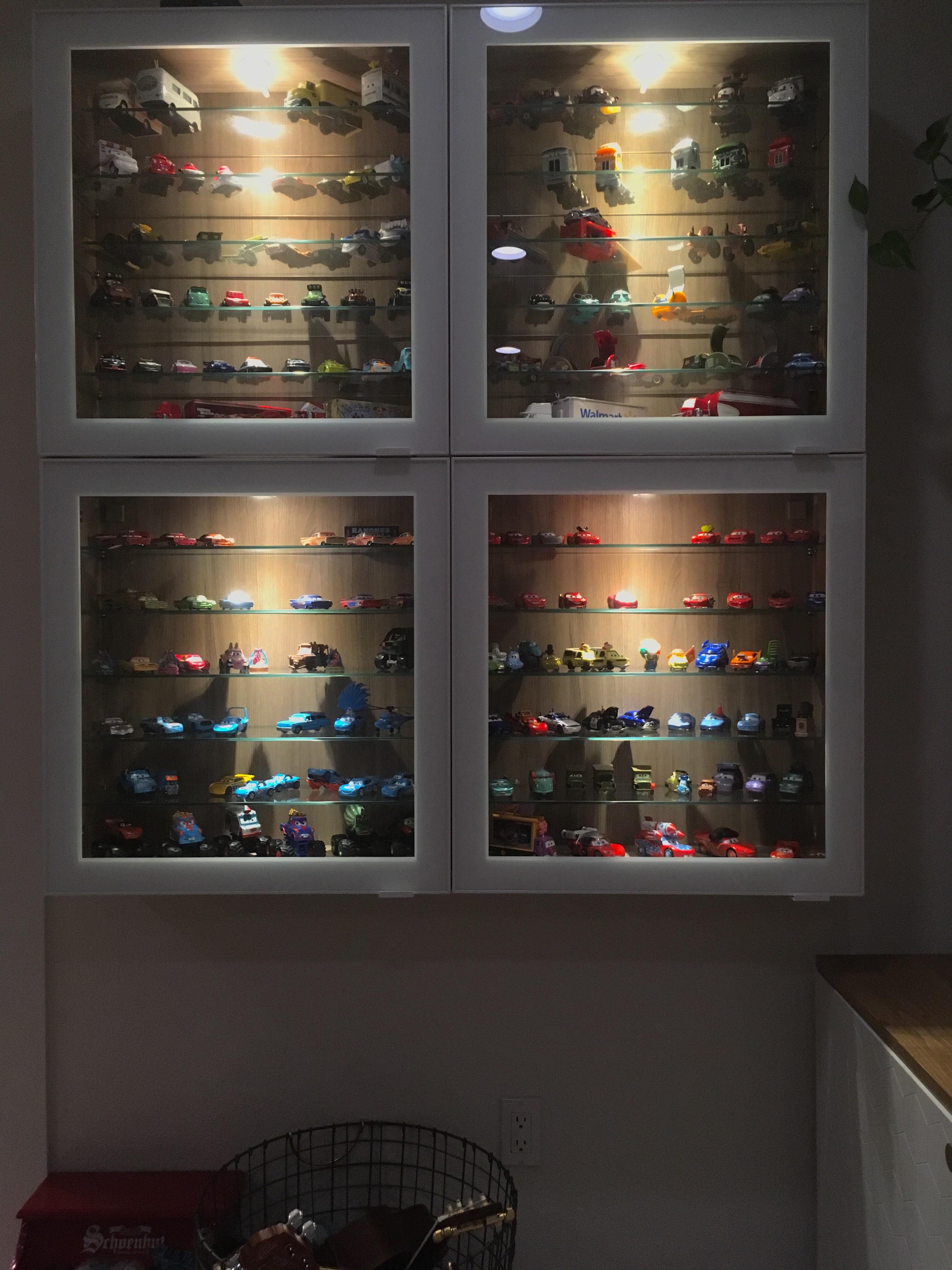 ikea besta display case and lighting