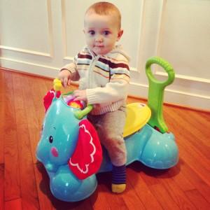 Mason on Bounce Stride and Ride Elephant