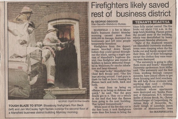 Adrian fire newspaper article