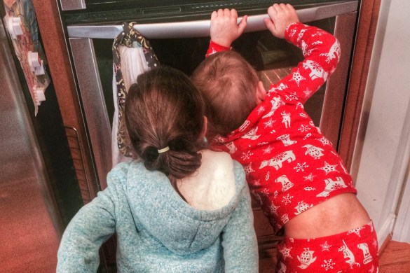Charlie and Ava wait for crayon hearts to melt