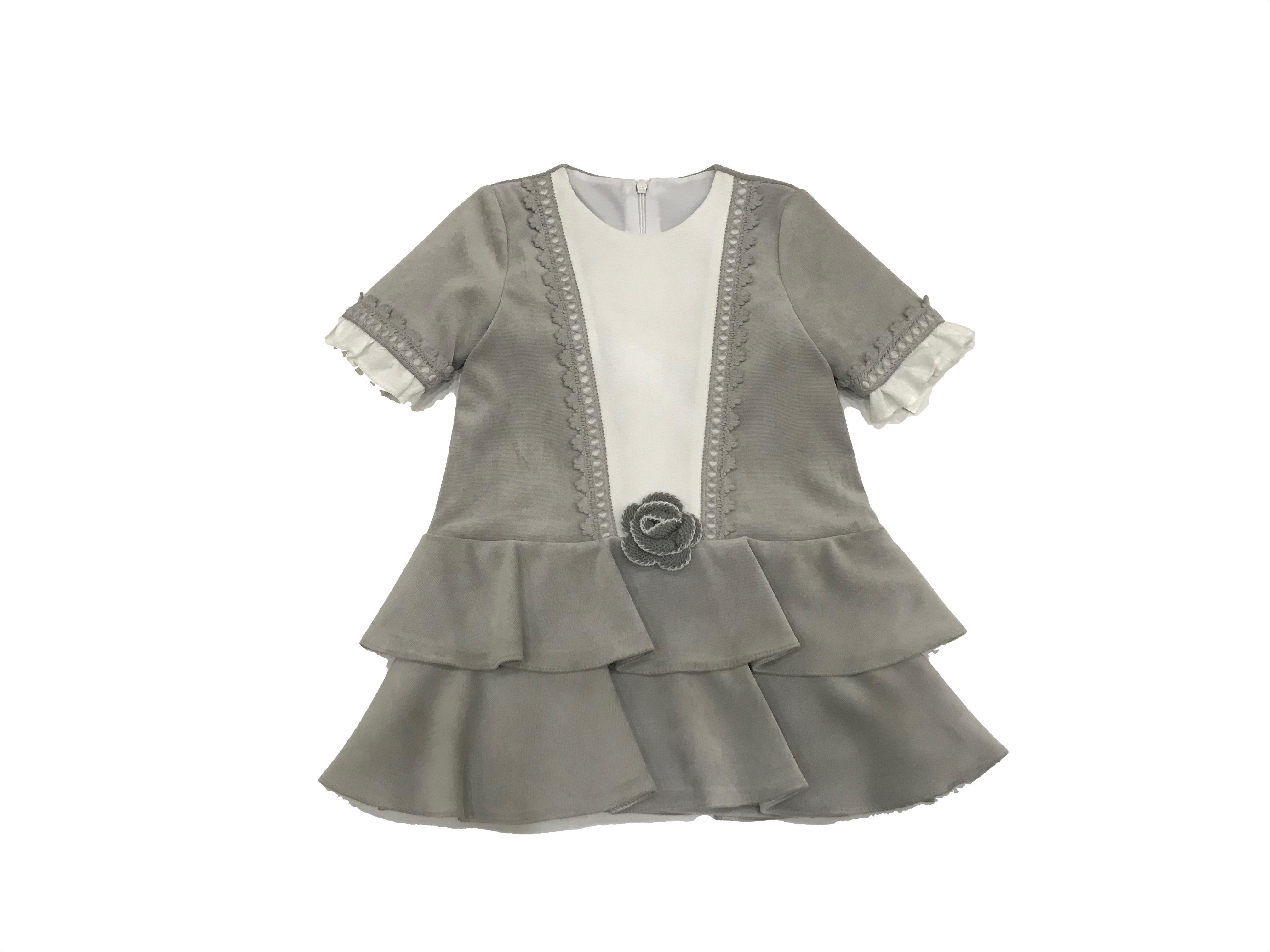 Outlet Marta y Paula vestido gris. Dados moda infantil b45f6893ad8