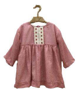 Mía y Lía vestido lino rosa manga francesa