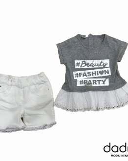 IDO Conjunto niña short y camiseta fashion