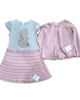 Outlet Carmen Taberner verano vestido rosa punto y chaqueta