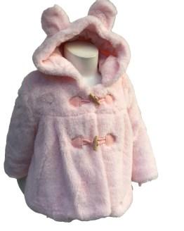 Dolce Petit detalle abrigo pelo bebé rosa