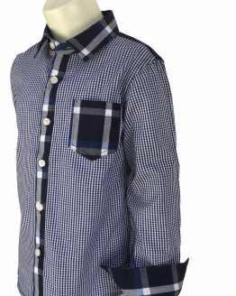 Detalle Aygey camisa niño cuadros azules