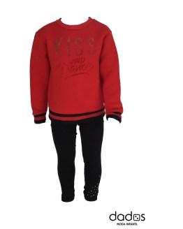 Aygey conjunto legging negro y sudadera roja