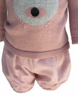 Detalle Floc Baby conjunto rosa oso