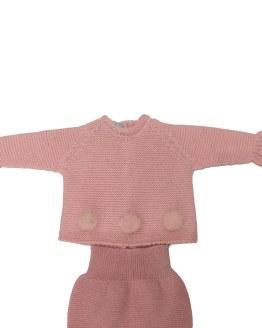Floc Baby conjunto bebé rosa pompones detalle