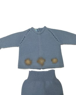 Floc Baby conjunto celeste pompones detalle