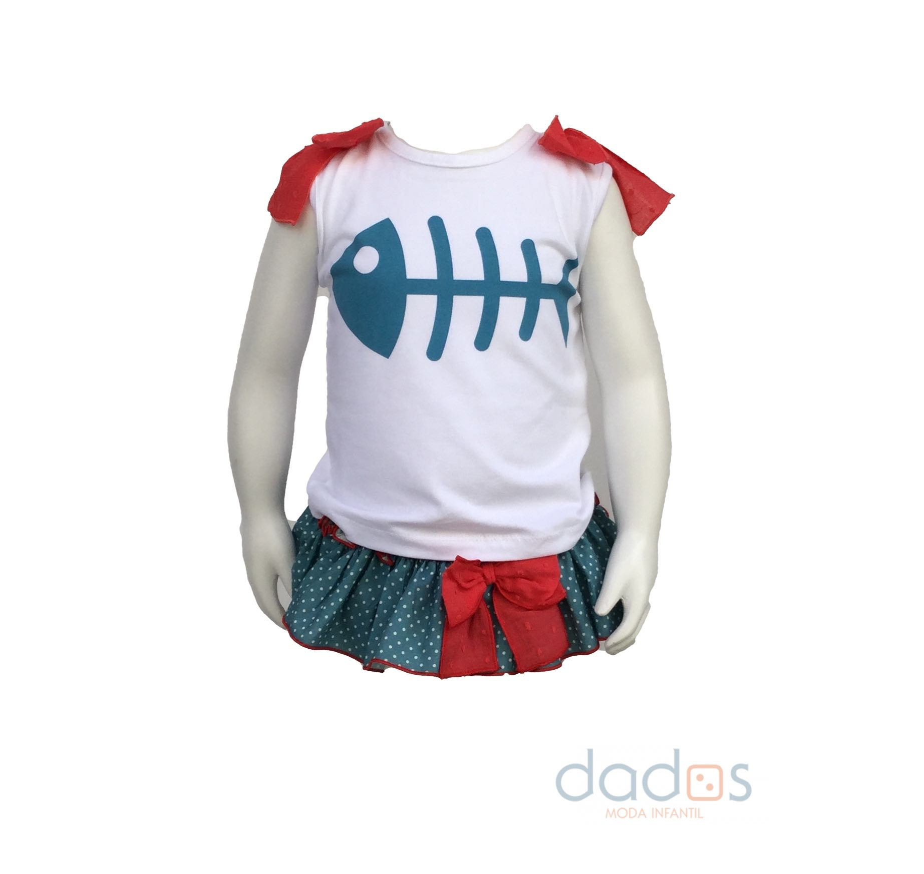 c61347e20 Mon Petit Bonbon conjunto camiseta pez y cubre verde - Dados