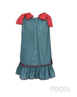 Mon Petit Bonbon vestido verde con lazos coral