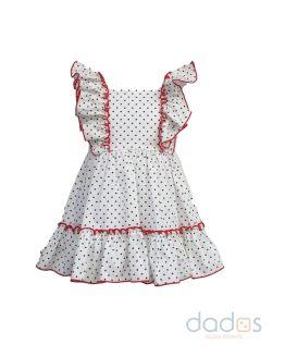 Mon Petit Bonbon vestido topos con lazo rojo