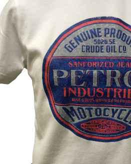 Detalle PETROL camiseta blanca logo redondo