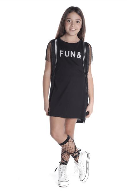 Catálogo Fun&Fun vestido negro con flecos