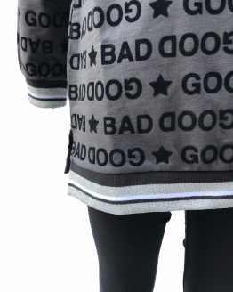 Detalle IDO conjunto legging gris y negro letras