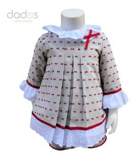 Dolce Petit vestido y braga gris y rojo