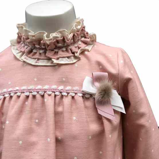 Dolce Petit vestido rosa topos detalle