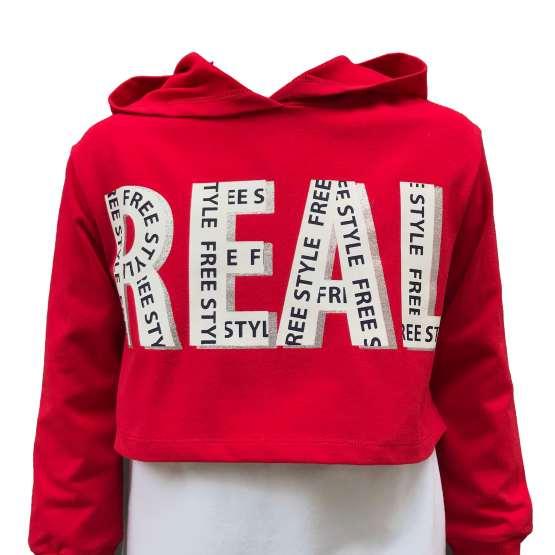IDO conjunto 3 piezas sudadera roja capucha Real detalle sudadera