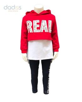 IDO conjunto 3 piezas sudadera roja capucha Real