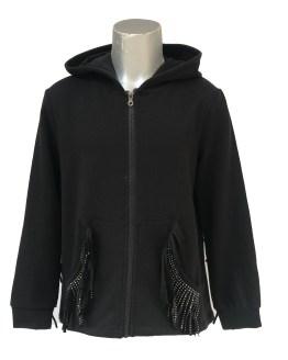 IDO chaqueta felpa negra con capucha