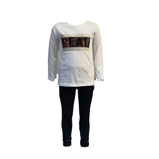 IDO conjunto 3 piezas gris y rojo detalle camiseta