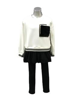 IDO conjunto legging negro y sudadera crema