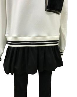 Detalle IDO conjunto legging negro y sudadera crema
