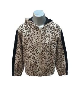 Monnalisa chaqueta animal print con cremallera