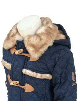 Detalle Coco Acqua chaquetón acolchado azul palos