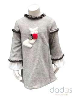 Coco Acqua vestido gris gato y pompones