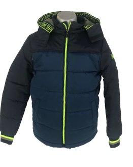 Petrol chaquetón bicolor con capucha azul