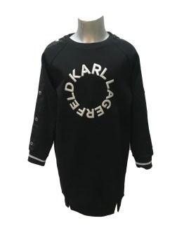 Karl Lagerfeld vestido negro logo en relieve
