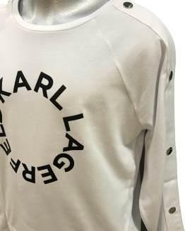 Detalle Karl Lagerfeld camiseta blanca chica logo redondo