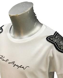 detalle Karl Lagerfeld camiseta chica lentejuelas hombro