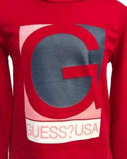 Detalle Guess camiseta chica roja manga larga