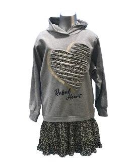 Elsy vestido gris con animal print