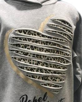 detalle Elsy vestido gris con animal print