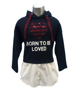 Elsy jersey-blusa azul corazón lentejuelas