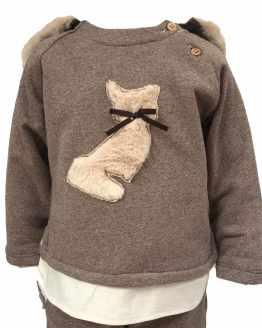 Detalle Coco Acqua conjunto niño marrón gato y capucha pelo