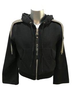 Custo Barcelona chaqueta negra con tiras plateadas