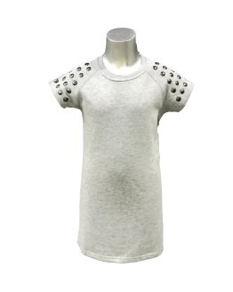 J'Aimè vestido gris con tachuelas