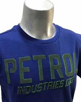 Detalle Petrol camiseta azul manga corta