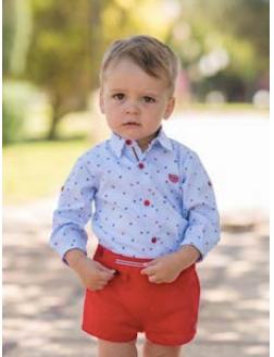 catálogo Dolce Petit conjunto niño pantalón y camisa monitos