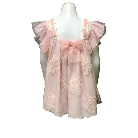 Espalda Dolce Petit vestido rosa tul con flores