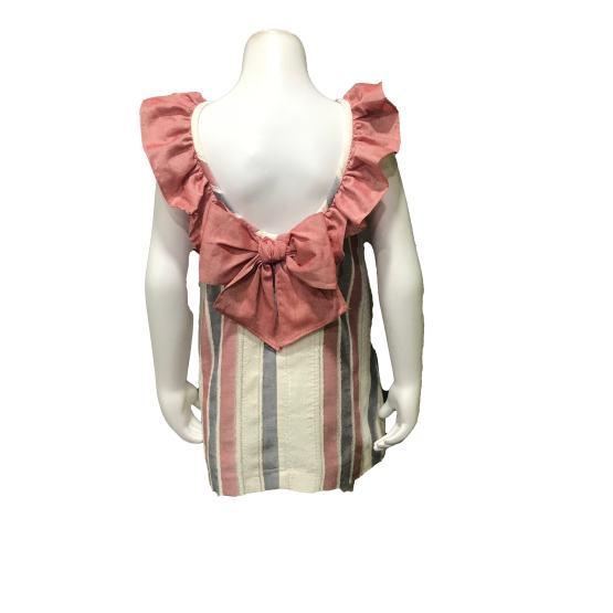 Espalda Dolce Petit vestido rayas sin mangas y lazo en espalda